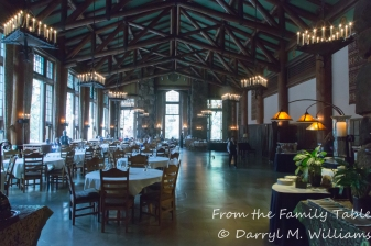 The main dining room at the Ahwahnee Hotel