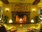 The warm fireplace in the lobby of the Ahwahnee Hotel