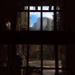 Half Dome through the window of the Great Room at the Ahwahnee