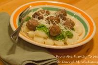 Lamb meatballs, mint-parsley pesto, potato gnocchi ready to eat.