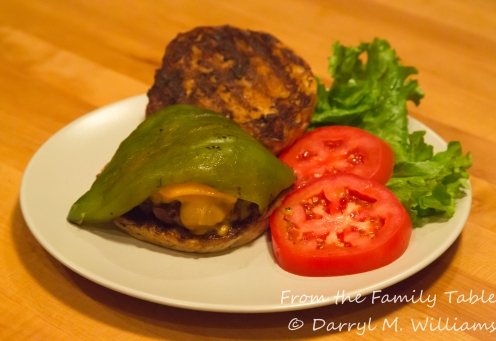 Christmas (red and green) chile cheesburger