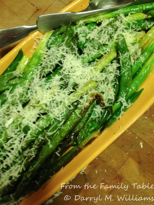 Sautéed asparagus and sugar snap peas