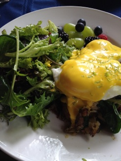 Wild crab hash, poached eggs and lime Hollandaise