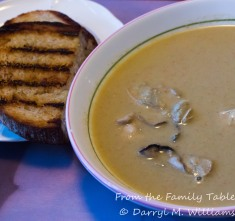 Oyster and artichoke soup with grilled bread
