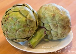Globe artichokes with a little discoloration from chilling - not a problem