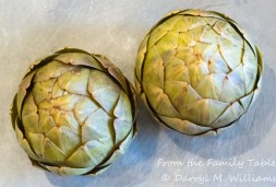 Artichokes cooked in lemon water maintain a pale green color