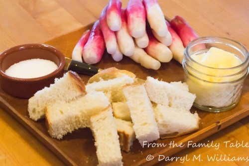 French breakfast radishes, cultured butter, salt, and crusty bread