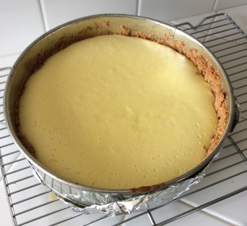 hree Cities of Spain cheesecake after the first baking