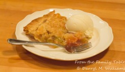 Rhubarb pie and ice cream