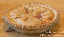 Rhubarb pie right out of the oven