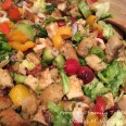 Assembled chicken panzanella