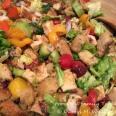 Assembled chicken panzanella