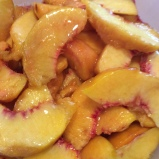 Peach slices with sugar and Fruit Fresh®