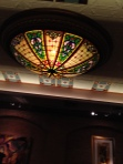 Stained glass chandelier in the Mahogany Grille