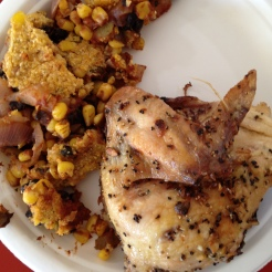 Tamale casserole with roasted chicken, pin feather and all