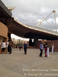 Patrons strolling on the Stravinsky Terrace before the performance