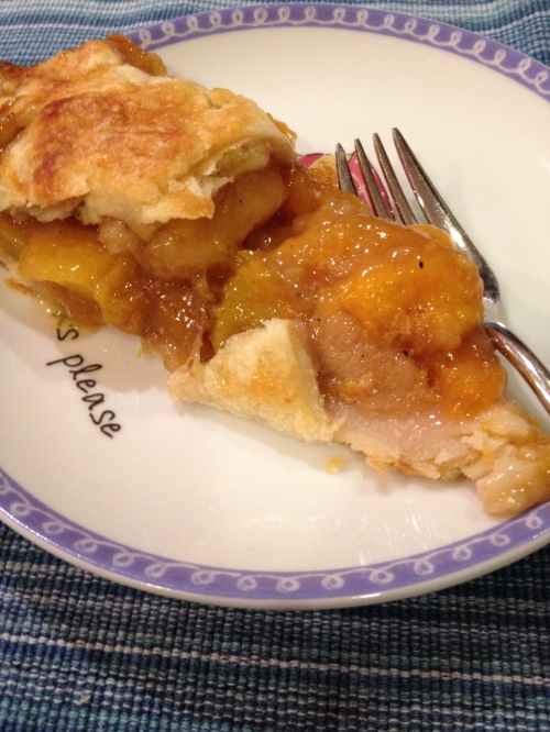 A slice of peach pie