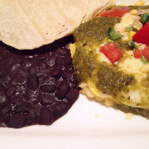 Arizona green chile eggs with black beans and corn tortillas