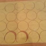 Pasta sheet cut into circles