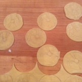 Pasta circles stamped with the wooden mold
