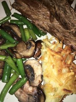 Brisket, latke, and green beans