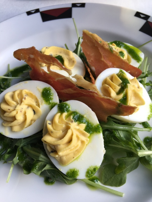 Deviled eggs with truffle oil