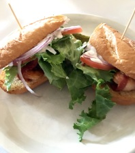 Bacon wrapped shrimp po'boy