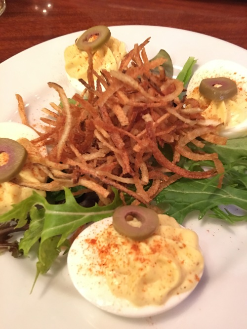Sunday deviled eggs with potato straws at the School Street Bistro, Lodi, CA
