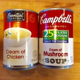 Condensed cream of chicken and cream of mushroom soups