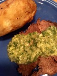 Pot roast, roasted potato and chimichurri