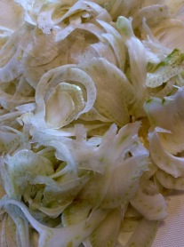 Thinly-sliced fennel bulb