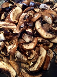 Sliced mushrooms, sautéing