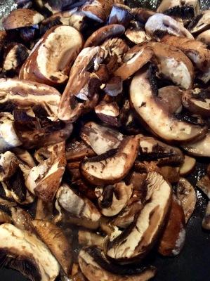 Sliced mushrooms, sautéing