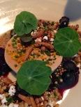 Foie gras torchon, blueberry, puffed sorghum