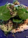 Cucumber, melon, smoked white fish, seeds