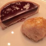 Chocolate ganache tart with honeycomb ice cream