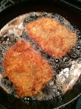 Frying up the steaks