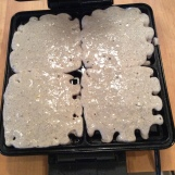 Batter in the waffle iron
