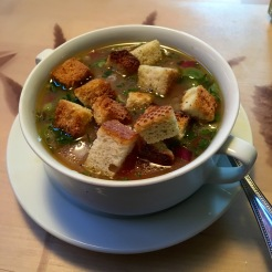Rustic gazpacho - don't forget the garlic croutons