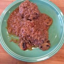 Porcupines with mushroom gravy