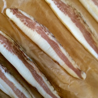 Guanciale sliced