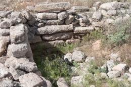 Stone wall on the mesa top at Tsankawi Ruins