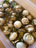 Mushrooms marinating