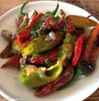 Grilled Italian peppers with duck