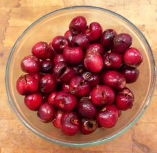 Pitted cherries soaking in Kirsch