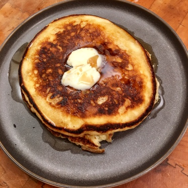 Lemon ricotta pancakes with Canadian maple syrup
