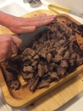 Chopping the brisket