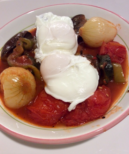 Not Exactly Ratatouille with poached eggs