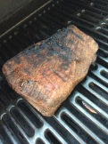 Finishing the brisket on the grill