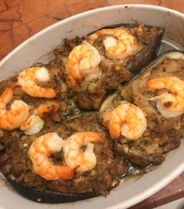 Baked shrimp-stuffed eggplants